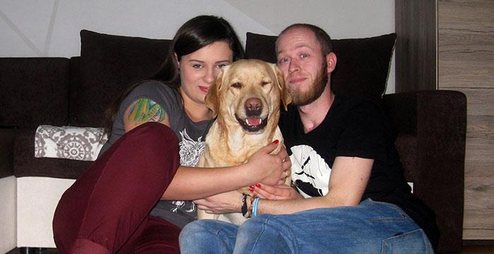 Labradorka Mela ze swoją nową rodziną